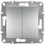 EPH1100161 Двухклавишный кнопочный выключатель Asfora IP20. Цвет Алюминий