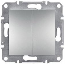 EPH0600161 Двухклавишный переключатель Asfora IP20. Цвет Алюминий