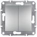 EPH0300161 Двухклавишный выключатель Asfora IP20. Цвет Алюминий