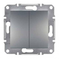 EPH1100162 Двухклавишный кнопочный выключатель Asfora IP20. Цвет Сталь