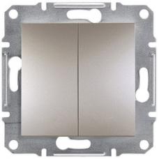 EPH1100169 Двухклавишный кнопочный выключатель Asfora IP20. Цвет Бронза