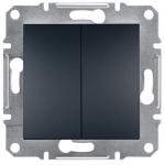 EPH1100171 Двухклавишный кнопочный выключатель Asfora IP20. Цвет Антрацит
