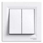 EPH1100121 Двухклавишный кнопочный выключатель Asfora IP20. Цвет Белый