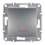 EPH1600162 Кнопочный выключатель с подсветкой Asfora IP20. Цвет Сталь