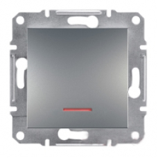 Кнопковий вимикач з підсвіткою Asfora IP20. Колір Сталь, EPH1600162