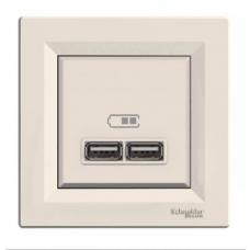 EPH2700223 USB-розетка Asfora 2.1 A (2 входа). Цвет Кремовый
