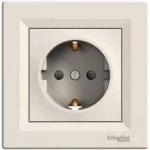 EPH2900223 Розетка одинарная с заземлением и защитными шторками Asfora 16А. Цвет Кремовый
