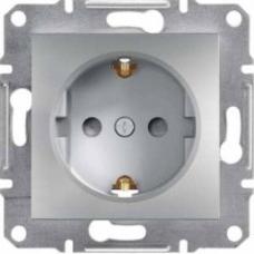 EPH2900261 Розетка одинарная с заземлением и защитными шторками Asfora 16А. Цвет Алюминий