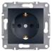 EPH2900271 Розетка одинарная с заземлением и защитными шторками Asfora 16А. Цвет Антрацит