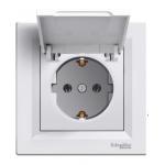 EPH3100121 Розетка с заземлением и защитной крышкой Asfora 16А. Цвет Белый