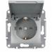 EPH3100161 Розетка с заземлением и защитной крышкой Asfora 16А. Цвет Алюминий