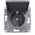 EPH3100162 Розетка с заземлением и защитной крышкой Asfora 16А. Цвет Сталь