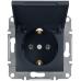 EPH3100171 Розетка с заземлением и защитной крышкой Asfora 16А. Цвет Антрацит