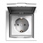 EPH3100321 Розетка с заземлением, шторками и защитной крышкой Asfora 16А IP44. Цвет Белый