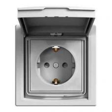 EPH3100323 Розетка с заземлением, шторками и защитной крышкой Asfora 16А IP44. Цвет Кремовый