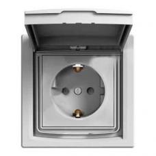 EPH3100361 Розетка с заземлением, шторками и защитной крышкой Asfora 16А IP44. Цвет Алюминий