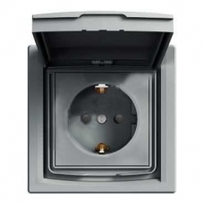 EPH3100362 Розетка с заземлением, шторками и защитной крышкой Asfora 16А IP44. Цвет Сталь