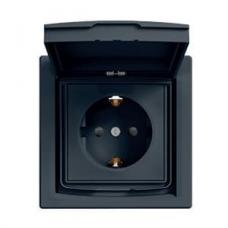 Розетка із заземленням, шторками та захисною кришкою Asfora 16А IP44. Колір Антрацит, EPH3100371