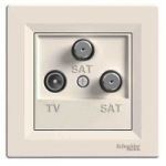 EPH3600123 Розетка TV-SAT-SAT концевая 1 dB Asfora. Цвет Кремовый