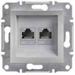 EPH4400161 Розетка компьютерная двойная кат.5е UTP Asfora. Цвет Алюминий