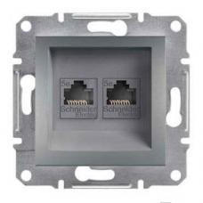 EPH4400162 Розетка компьютерная двойная кат.5е UTP Asfora. Цвет Сталь