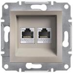EPH4400169 Розетка компьютерная двойная кат.5е UTP Asfora. Цвет Бронза