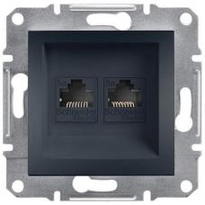 EPH4400171 Розетка компьютерная двойная кат.5е UTP Asfora. Цвет Антрацит