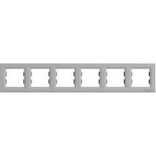 EPH5800661 Рамка 6-местная горизонтальная Asfora. Цвет Алюминий