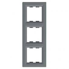 EPH5810362 Рамка 3-местная вертикальная Asfora. Цвет Сталь
