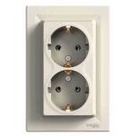 EPH9900123 Двойная розетка с заземлением Asfora 16А IP44. Цвет Кремовый