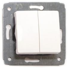 773605 Двухклавишный выключатель Legrand Cariva 10 А, IP20. Цвет Белый