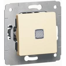 773713 Одноклавішний вимикач Legrand Cariva без фіксації з підсвіткою, 10 А, IP20. Колір Слонова кістка