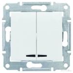 SDN0300321 Двухклавишный выключатель с подсветкой 10A серии Sedna. Цвет Белый