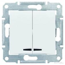 Двухклавишный выключатель с подсветкой 10A серии Sedna. Цвет Белый (SDN0300321)