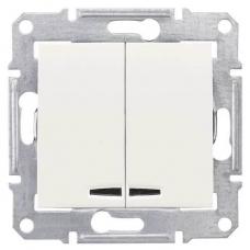 Двухклавишный выключатель с подсветкой 10A серии Sedna. Цвет Слоновая кость (SDN0300323)
