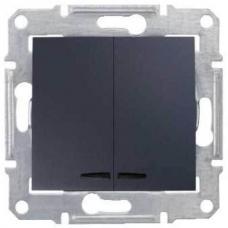 Двухклавишный выключатель с подсветкой 10A серии Sedna. Цвет Графит (SDN0300370)