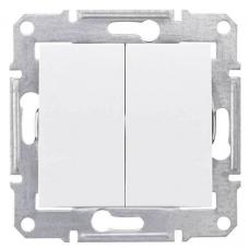 SDN0300121 2-клавішний вимикач 10 A серії Sedna. Колір Білий
