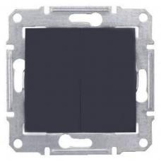 2-клавишный выключатель 10 A серии Sedna. Цвет Графит (SDN0300170)