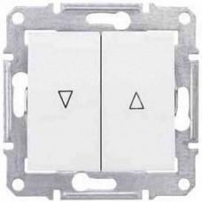 Выключатель для жалюзи с механич. блокировкой 10A серии Sedna. Цвет Белый (SDN1300321)