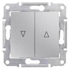 Выключатель для жалюзи с механич. блокировкой 10A серии Sedna. Цвет Алюминий (SDN1300360)