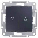 SDN1300370 Выключатель для жалюзи с механич. блокировкой 10A серии Sedna. Цвет Графит