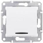 SDN1500221 Одноклавишный выключатель с подсветкой 16A серии Sedna. Цвет Белый