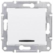 Одноклавишный перекрестный переключатель с подсветкой 10A серии Sedna. Цвет Белый (SDN0501121)