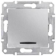 Одноклавишный выключатель с индикацией 10A серии Sedna. Цвет Алюминий (SDN0400360)