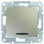 SDN1500168 Одноклавишный переключатель с подсветкой 10A серии Sedna. Цвет Титан