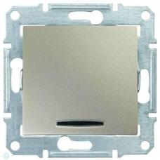 Одноклавишный выключатель с подсветкой 10A серии Sedna. Цвет Титан (SDN1400168)