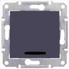 Одноклавишный выключатель с индикацией 10A серии Sedna. Цвет Графит (SDN0400370)