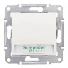 Кнопочный выключатель с подсветкой и держателем для надписи 10A серии Sedna. Цвет Белый (SDN1600321)