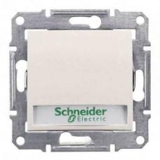 Кнопочный выключатель с подсветкой и держателем для надписи 10A серии Sedna. Цвет Слоновая кость (SDN1600323)