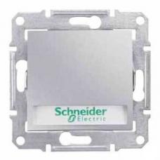 Кнопочный выключатель с подсветкой и держателем для надписи 10A серии Sedna. Цвет Алюминий (SDN1600360)